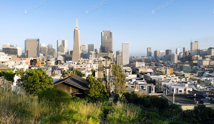 Over Neighborhood Homes Buildings San Francisco California