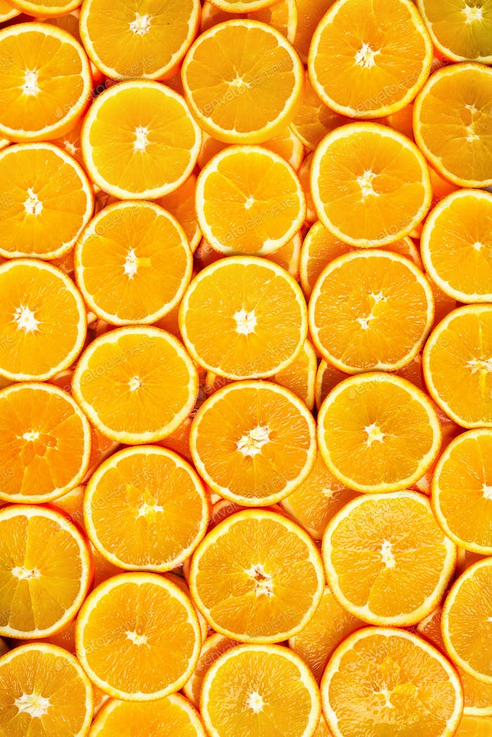 Thumbnail for Fresh sliced orange fruit texture. Macro, top view, copy space, banner. Food frame. Juicy oranges