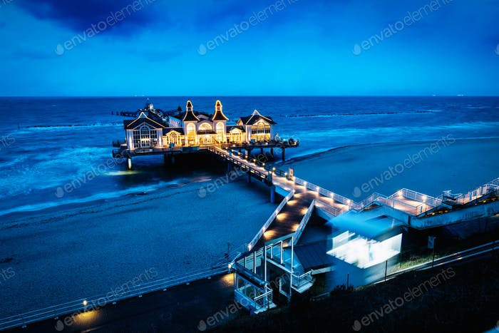 Sellin pier, Ruegen island, Germany at night