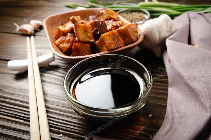 Crispy stir fried tofu cubes