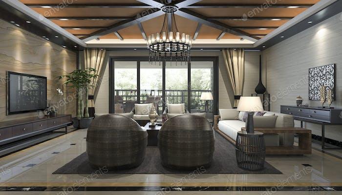 3d рендеринг тропического стиля курортный люкс гостиная и гостиная