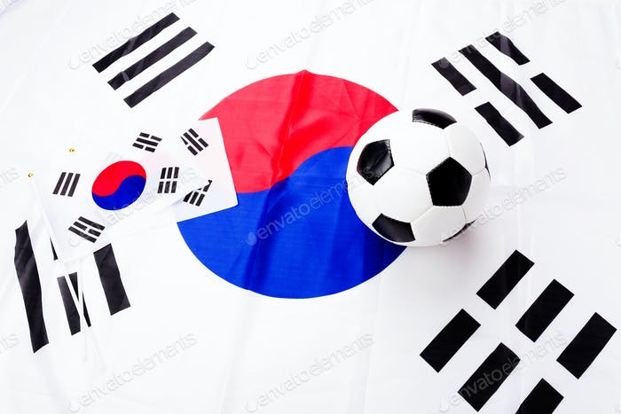 Football and South Korean flag
