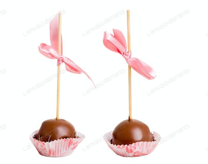 Delicious chocolate glazed candies.