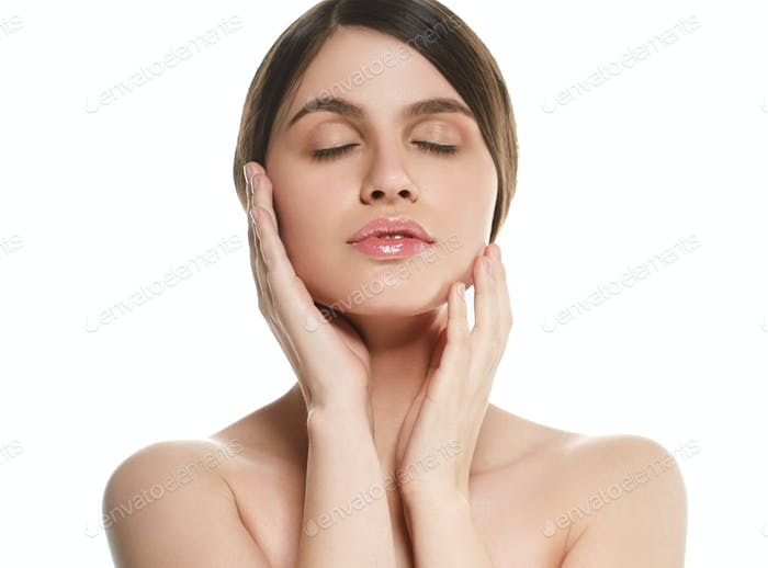 Beauty woman face natural make up clean skin