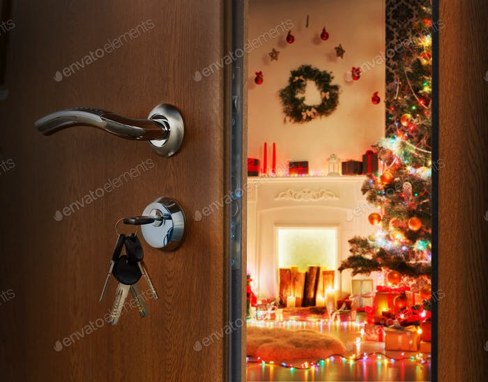 Opening door in christmas room, welcome to holiday