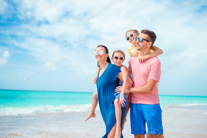 Family beach vacation at Caribbean