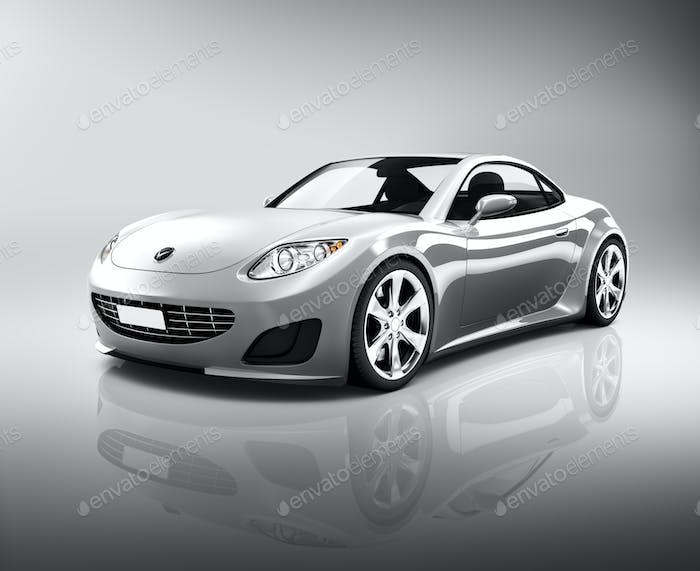 Luxury Silver Sports Car