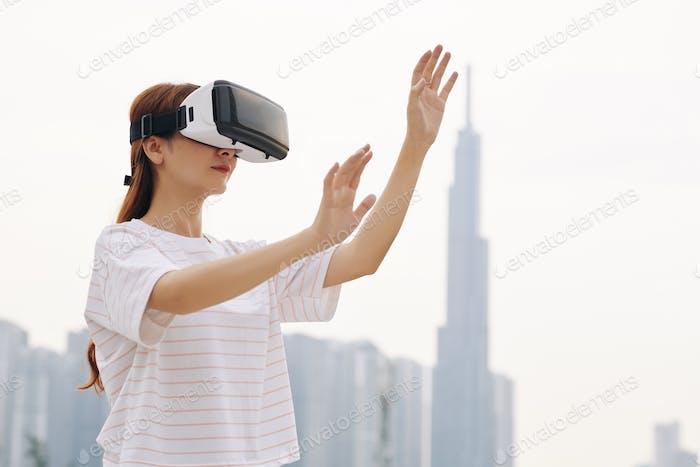 Woman testing new VR application
