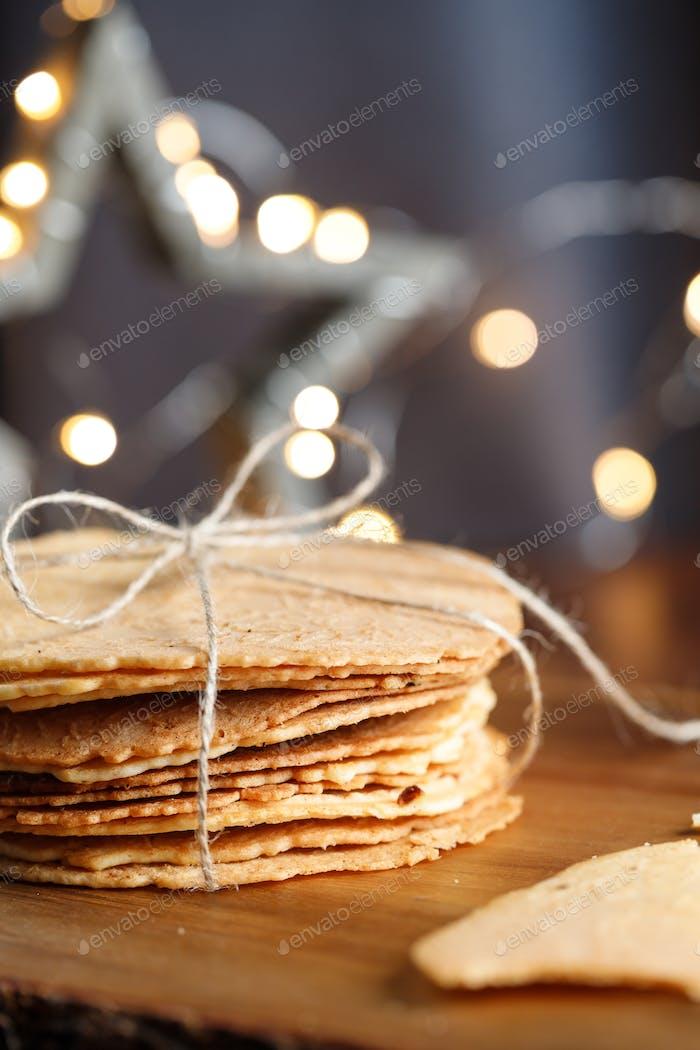 Stack of Norwegian crispy round waffles Krumkake