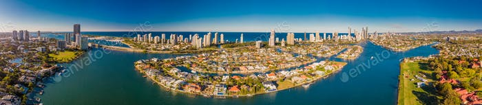 Aerial image of Surfers Paradise and Southport on the Gold Coast