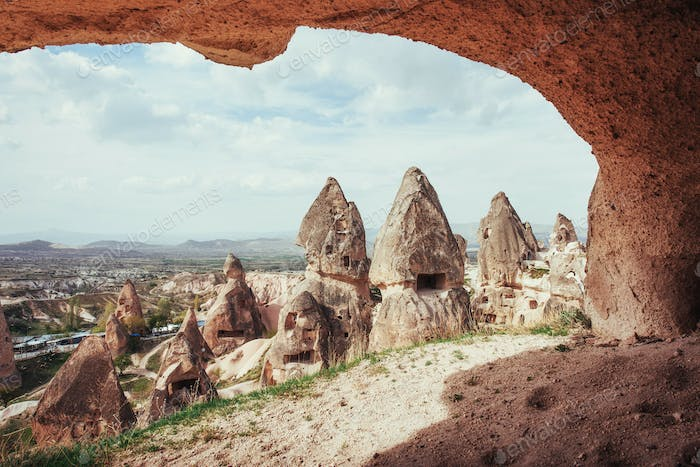Unique geological formations in valley in Cappadocia, Central An
