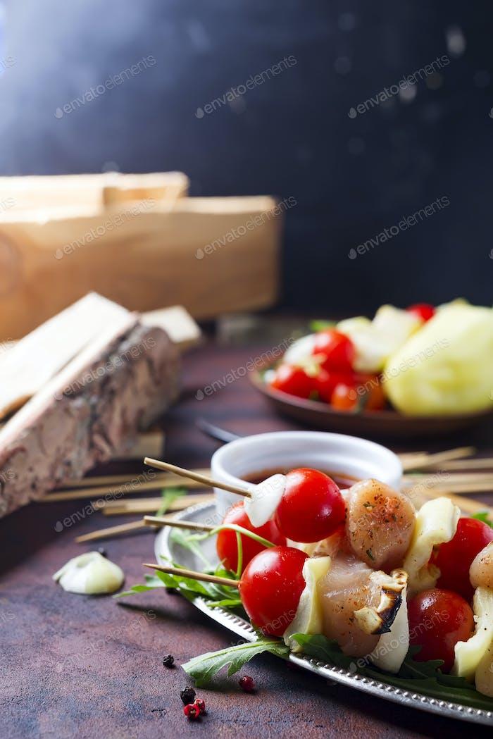 Making kebab from chicken
