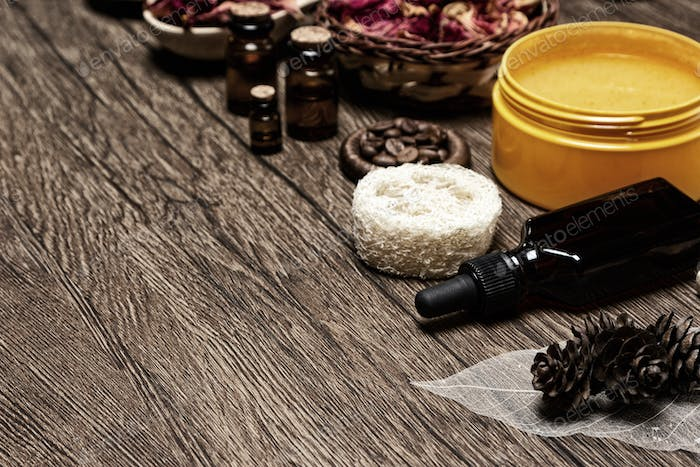 Spa and aromatherapy background with copy space
