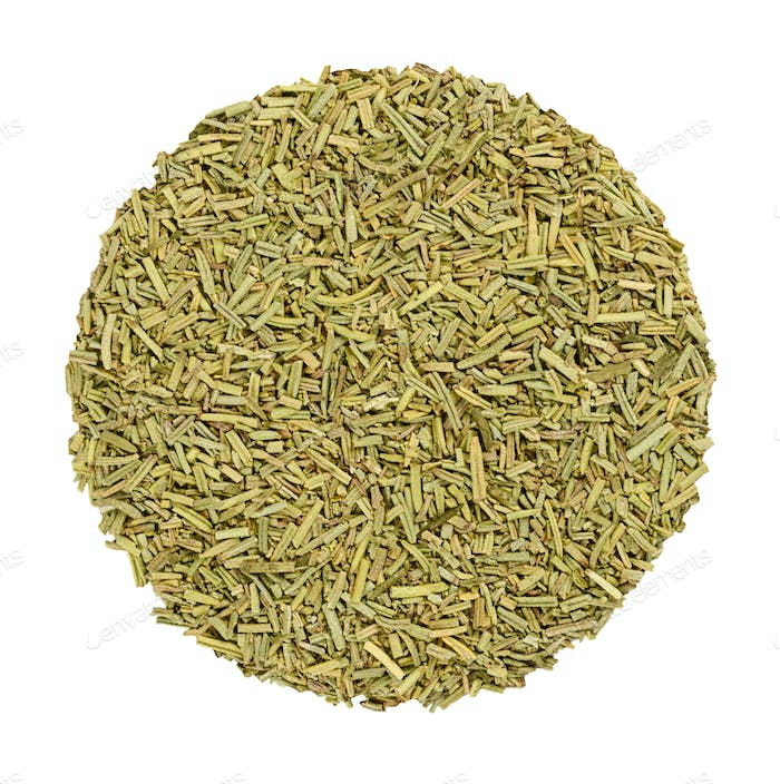 Dried rosemary, herb circle from above, over white