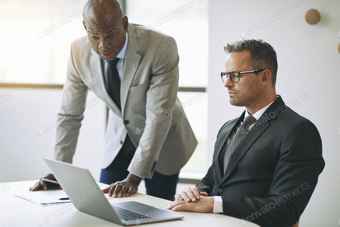Two diverse businessmen discussing work together and using a laptop