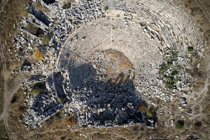 Top view of Hierapolis ancient theater in Pamukkale.