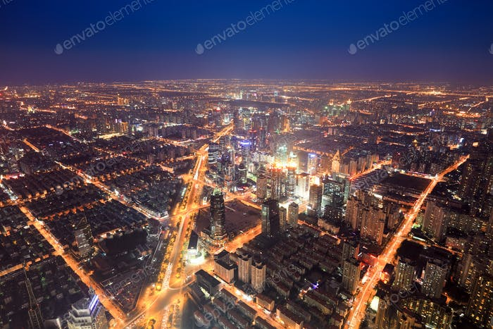 aerial view of the bright lights of city