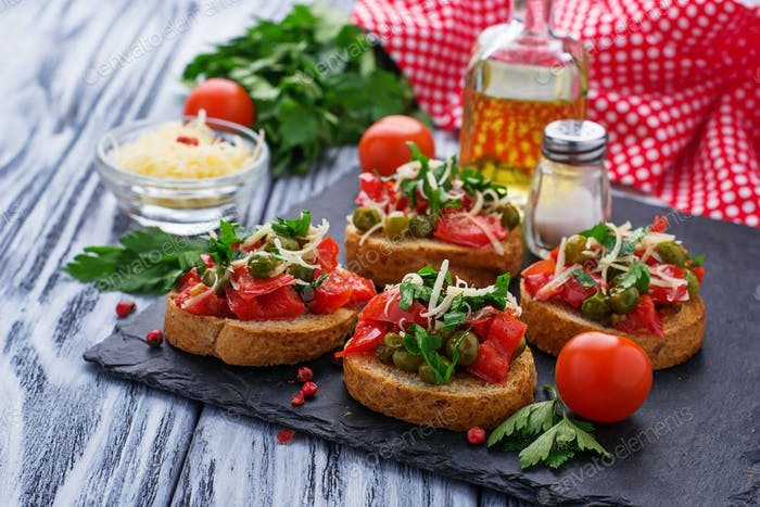 Traditional Italian antipasti bruschetta with vegetable