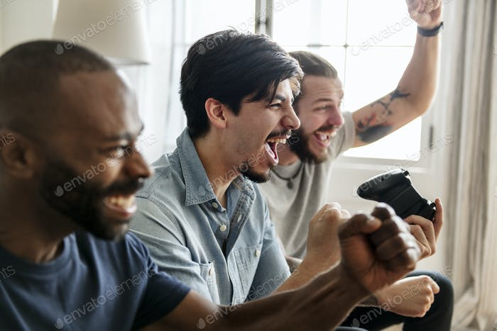 Group of friends playing game together
