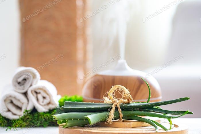 Spa-Komposition mit Aromatherapie und Körperpflegeprodukten.