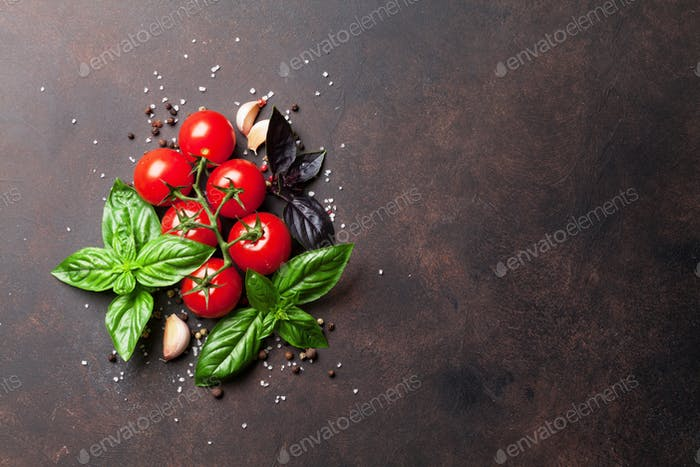 Italian food. Tomato and basil