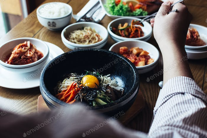 Feasting on Bibimbap, Kimchi and other traditional Korean food