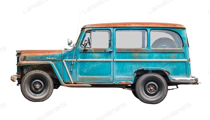 Isolated Vintage Station Wagon