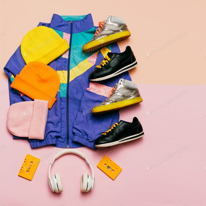Vintage sportswear. Headphones. Hipster style. Fashion blogger h