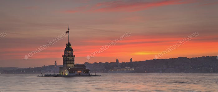 Panorama of Maiden's Tower in Istanbul
