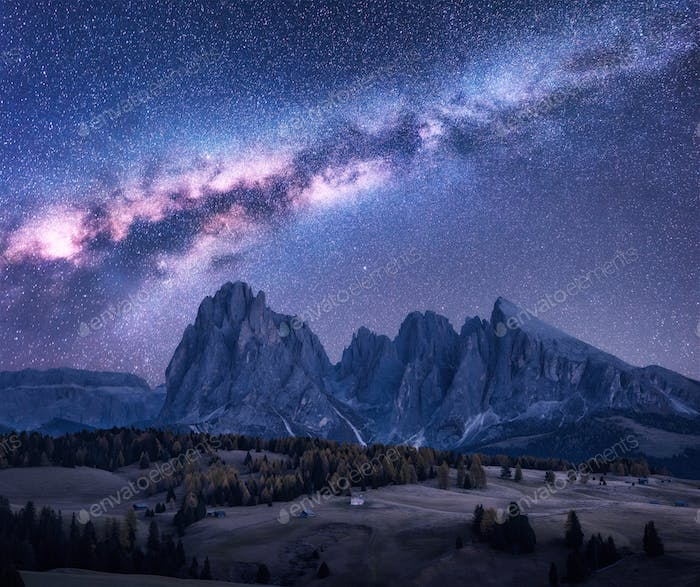 Milky Way over beautiful mauntains at night. Autumn landscape