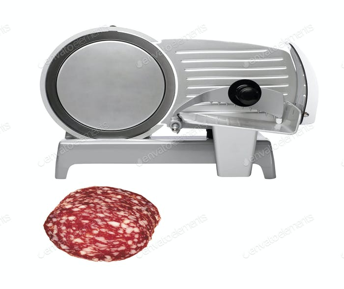 Industrial machine for cutting meats or sausages