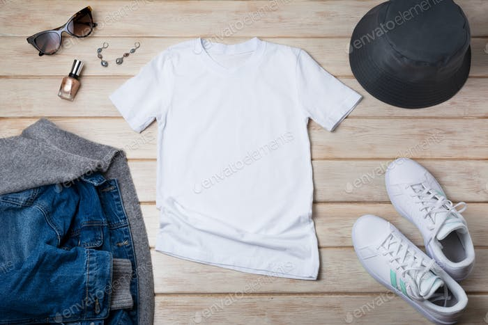 Womens T-shirt mockup with jeans hooded jacket