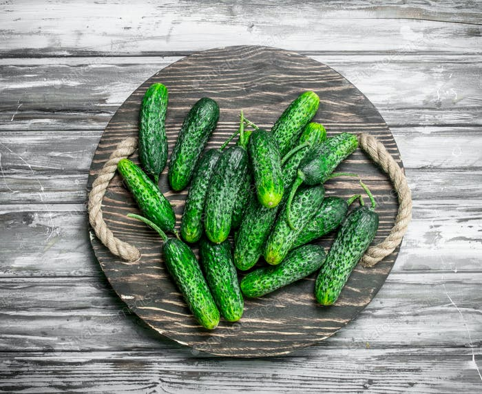 Cucumbers on a tray.