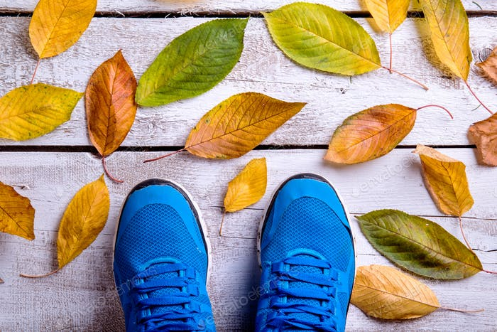 Blue sports shoes. Colorful autumn leaves. White wooden backgrou