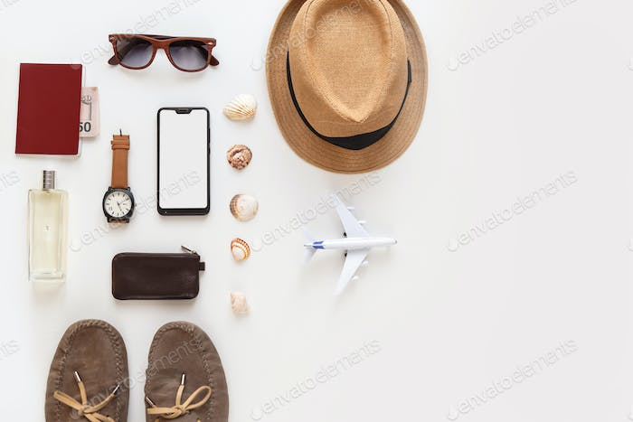 Male summer flat lay traveler accessories set isolated on white. Top view knolling