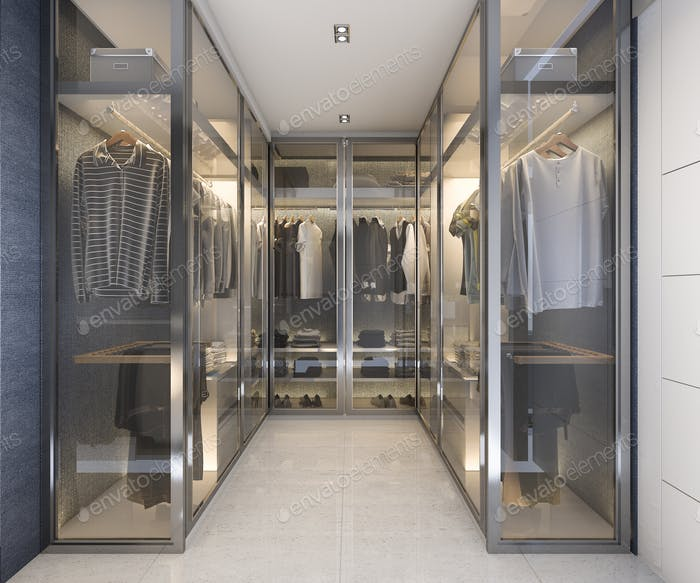 3d rendering modern luxury glass walk in closet with blue decor