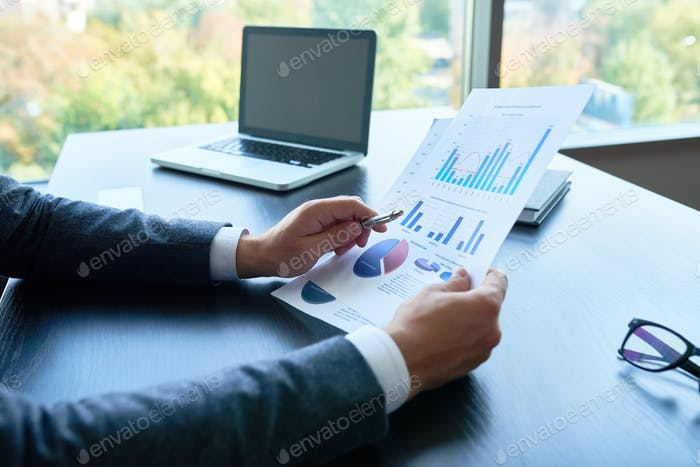 Business Person Analyzing Statistics Report