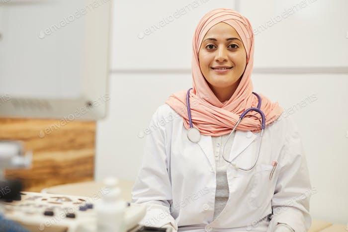 Middle-Eastern Nurse Posing in Clinic