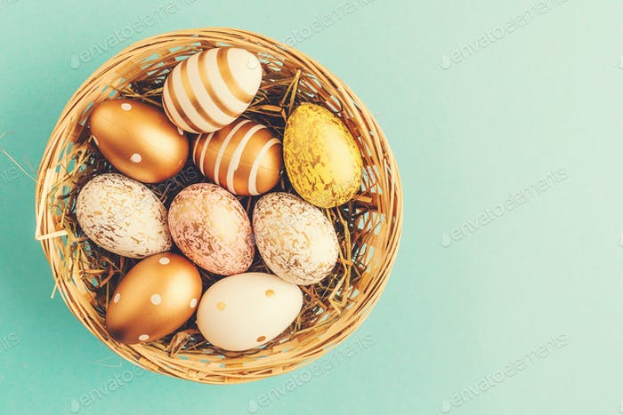Easter Flat Lay of Eggs in Nest