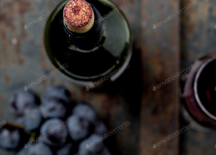 Top view of red wine bottle. Macro, selective focus on wine cork