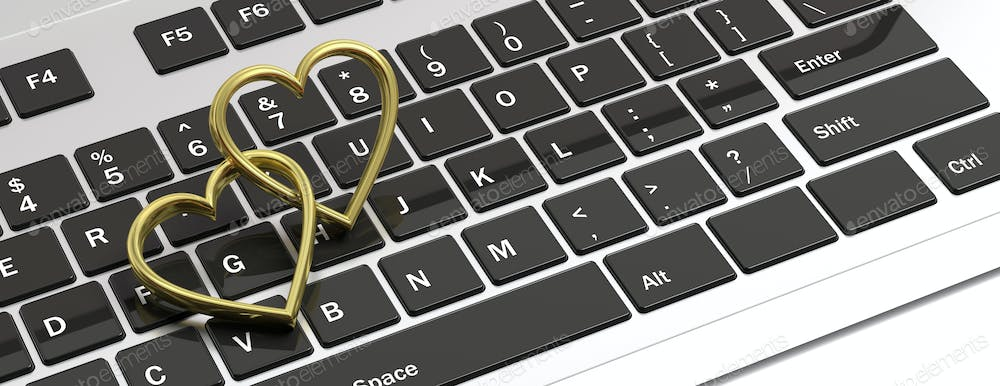 Pair Of Golden Wedding Rings Isolated On Computer Laptop Keyboard Banner 3d Illustration Photo By Rawf8 On Envato Elements