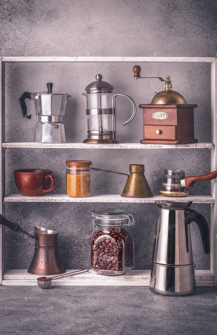 Coffee making tools on shelves