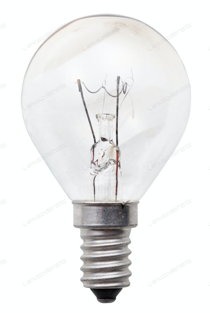 transparent incandescent light bulb