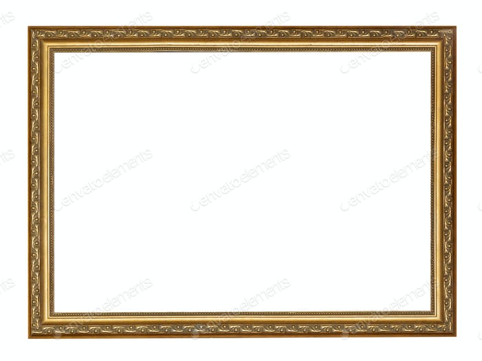 empty narrow golden carved wooden picture frame