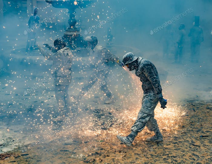 Ibi, Spain - December, 28 2018: People celebrating victory in flour and eggs battle