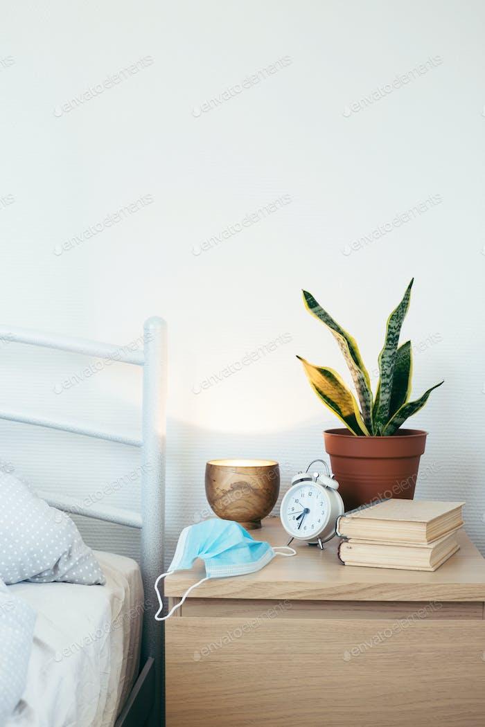 Wooden Bedside Table. Lockdown Concept.