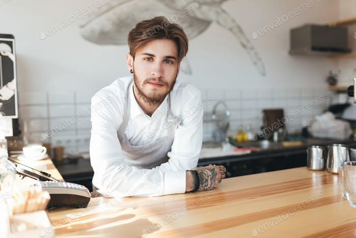 Young barista standing at the counter in restaurant