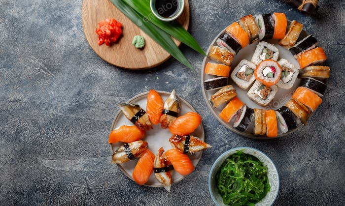 Sushi and rolls sets. Japonese food. top view