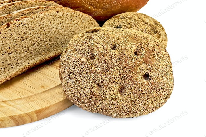 Rye flapjacks with slices of bread