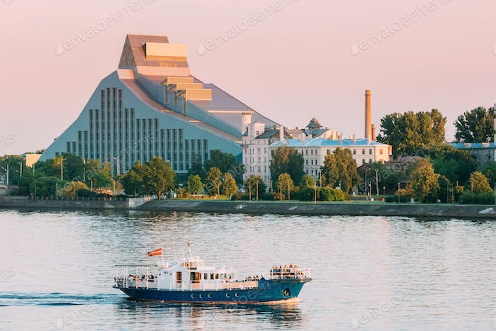 Riga, Latvia. View Of Building Of National Library Lock Of Light